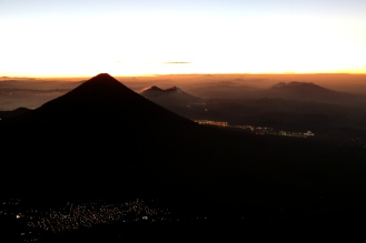 Sunrise from the crater of Acatenango Volcano