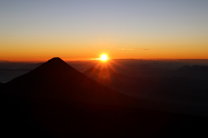 Sunrise at the crater of Acatenango Volcano
