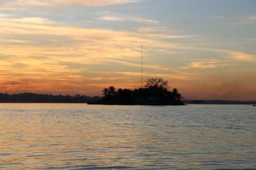 The sun setting over Lake Peten Itza