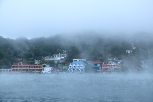 Thick fog over the lake in the morning