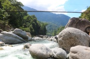 A suspension bridge crossing over the Cangrejal River into Pico Bonito.